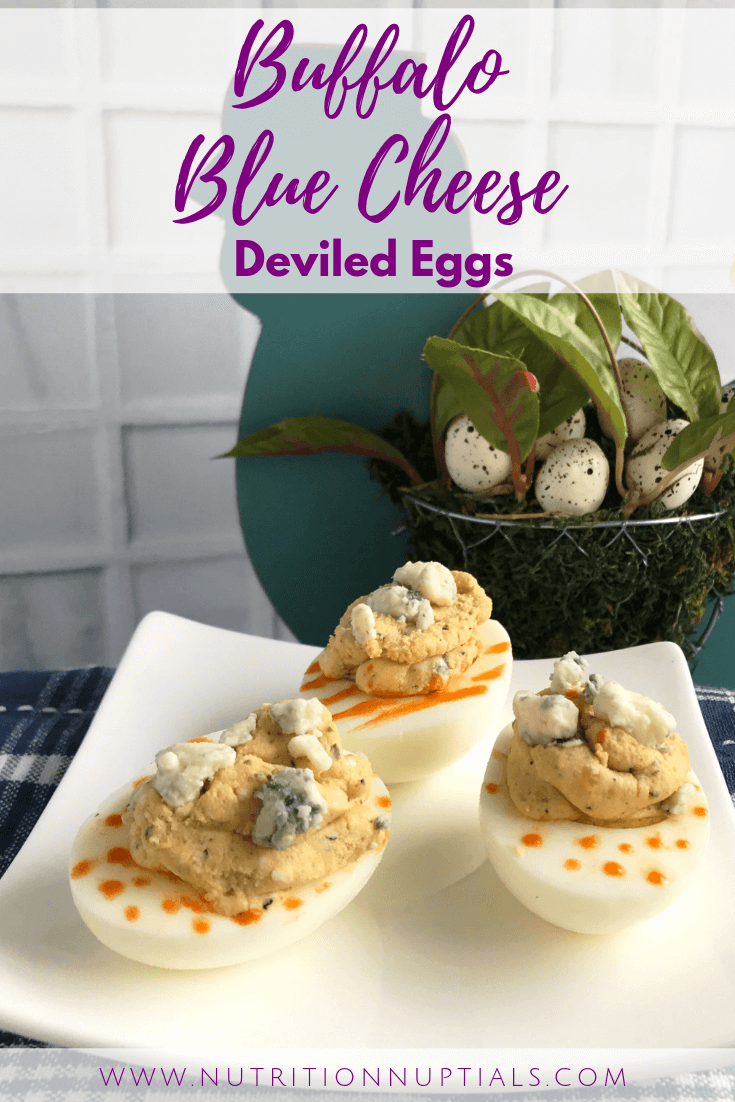 Buffalo Blue Cheese Deviled Eggs | Spicy Deviled Eggs Recipe | Easter Hardboiled Egg Leftovers | Nutrition Nuptials | Mandy Enright MS RDN RYT