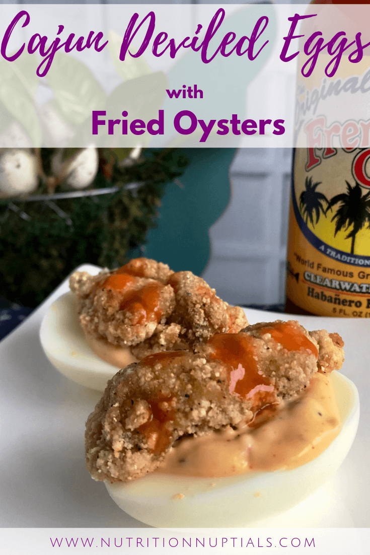 Cajun Deviled Eggs with Fried Oysters Recipe | Spicy Deviled Eggs Recipe | Easter Hardboiled Egg Leftovers | Nutrition Nuptials | Mandy Enright MS RDN RYT