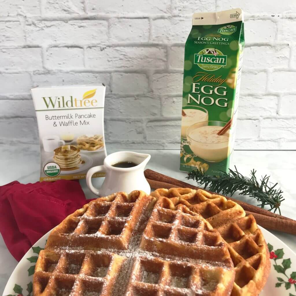 Eggnog Waffles with Maple Bourbon Syrup | Nutrition Nuptials | Mandy Enright MS RDN RYT