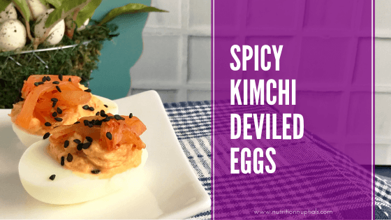 Spicy Kimchi Deviled Eggs