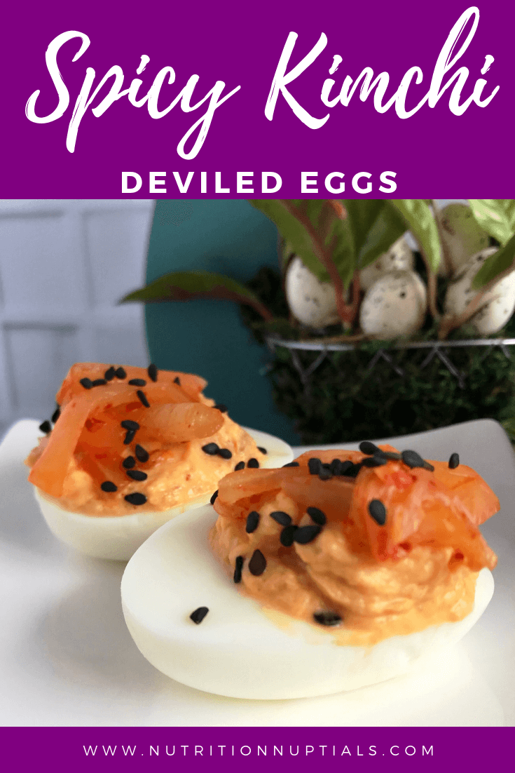 Spicy Kimchi Deviled Eggs | Spicy Deviled Eggs Recipe | Easter Hardboiled Egg Leftovers | Nutrition Nuptials | Mandy Enright MS RDN RYT
