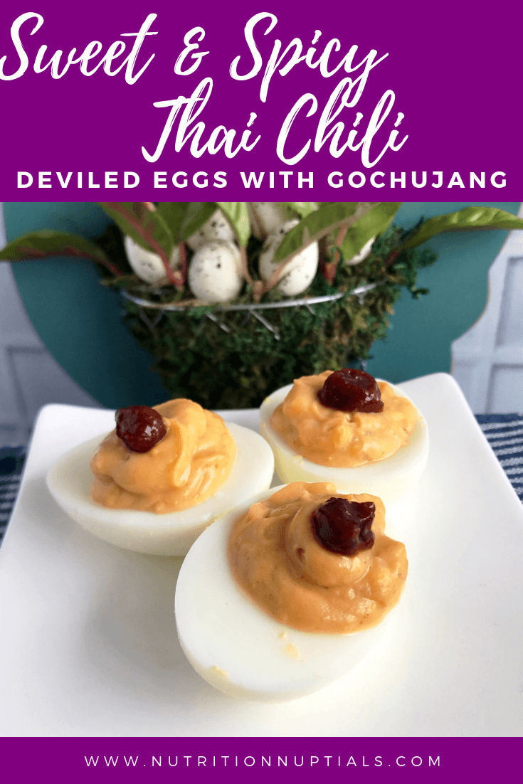 Sweet & Spicy Thai Chili Deviled Eggs with Gochujang | Spicy Deviled Eggs Recipe | Easter Hardboiled Egg Leftovers | Nutrition Nuptials | Mandy Enright MS RDN RYT