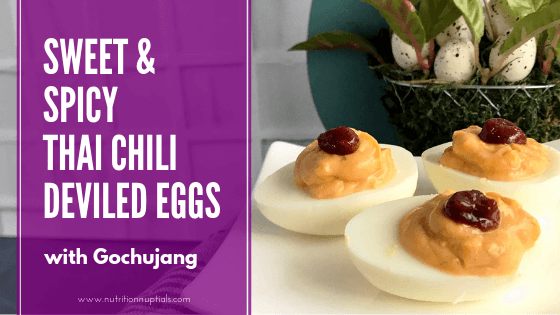 Sweet & Spicy Thai Chili Deviled Eggs with Gochujang