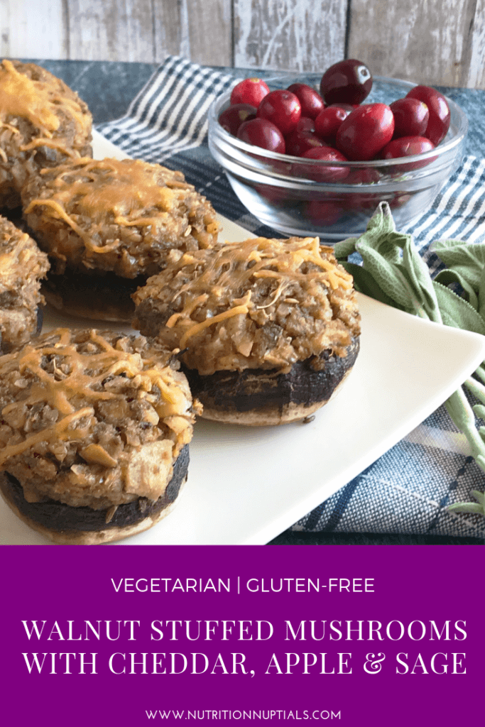 Walnut Stuffed Mushrooms with Cheddar, Apple & Sage | Nutrition Nuptials | Mandy Enright MS RDN RYT